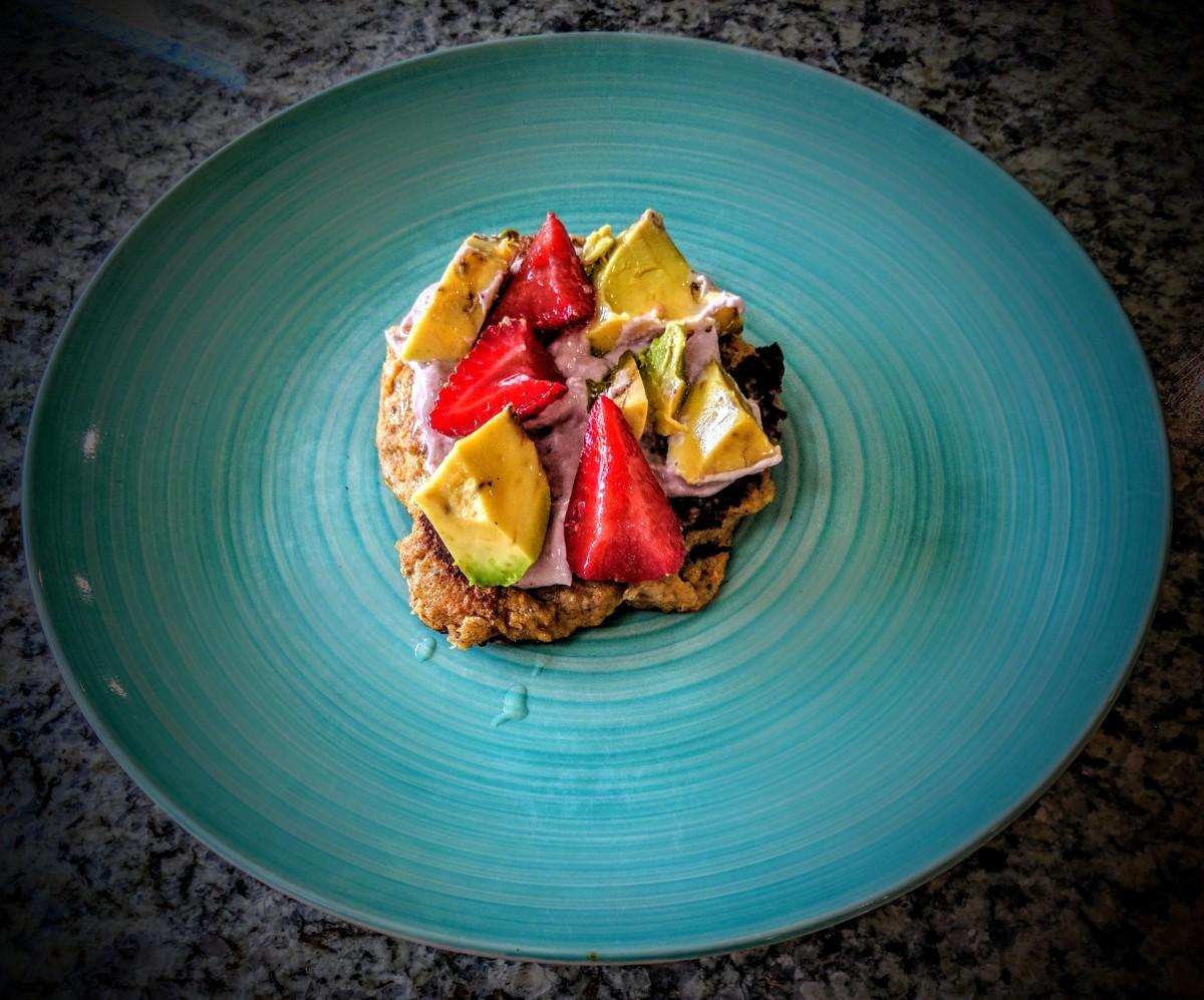 Vegan Sweet Potato Pancakes with Strawberry Cream Cheese and Avocado 3