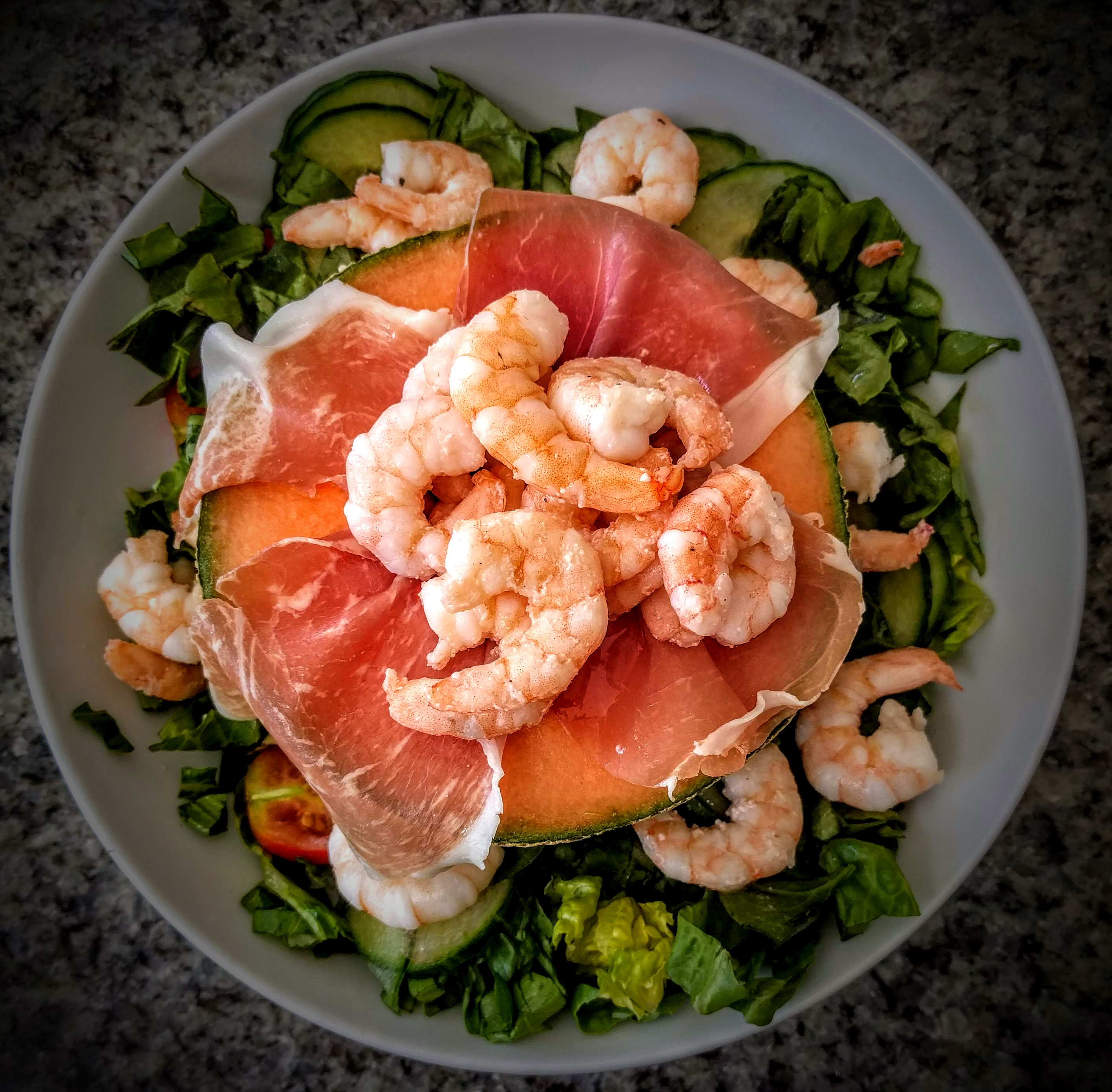 Prawns with Palma Ham and Melon 6