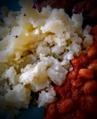 Sausage, the Best Mash Potato and Homemade Beans 4