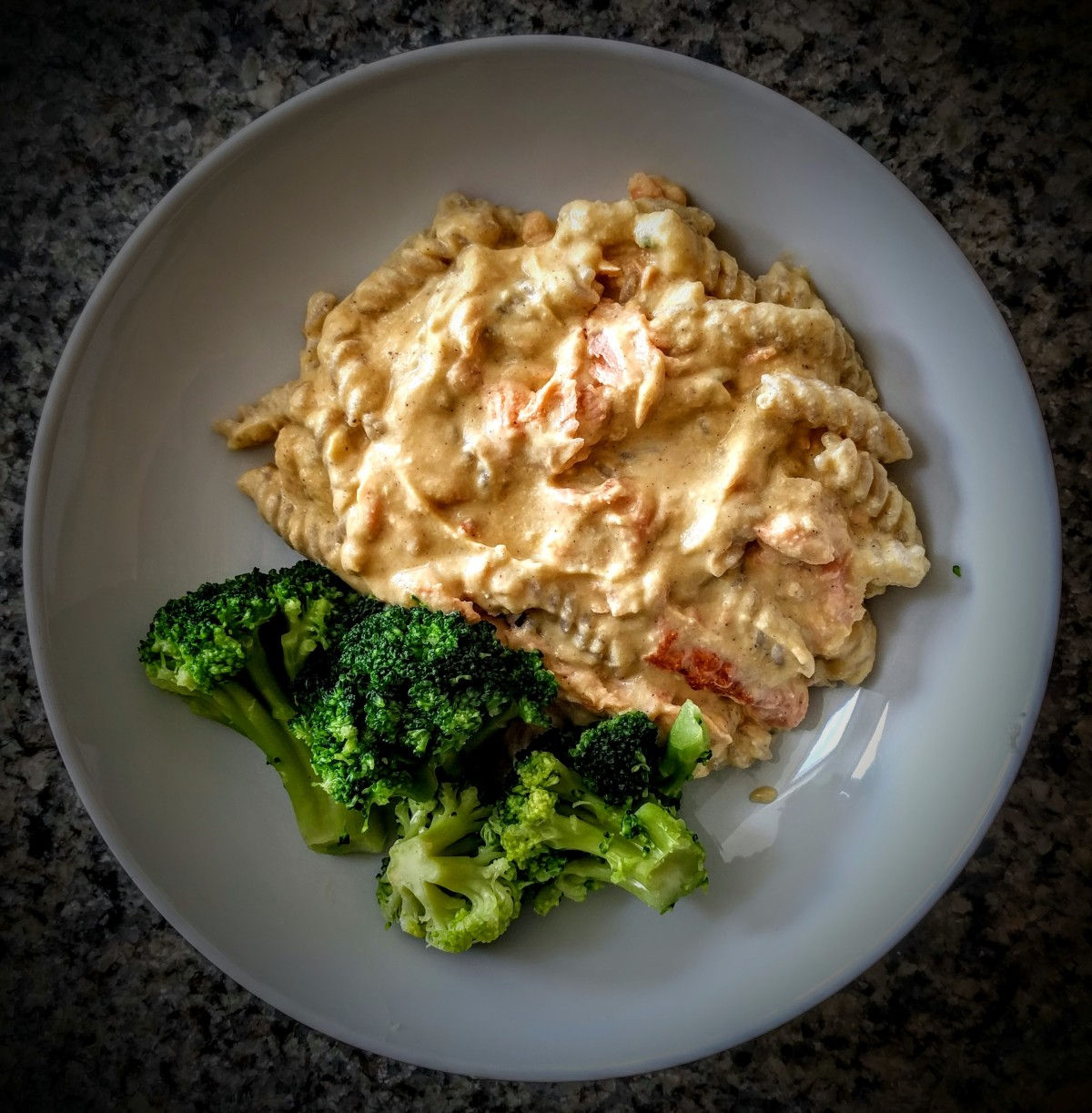 Roasted Pumpkin and Creamy Brazil Nut Salmon Pasta 1